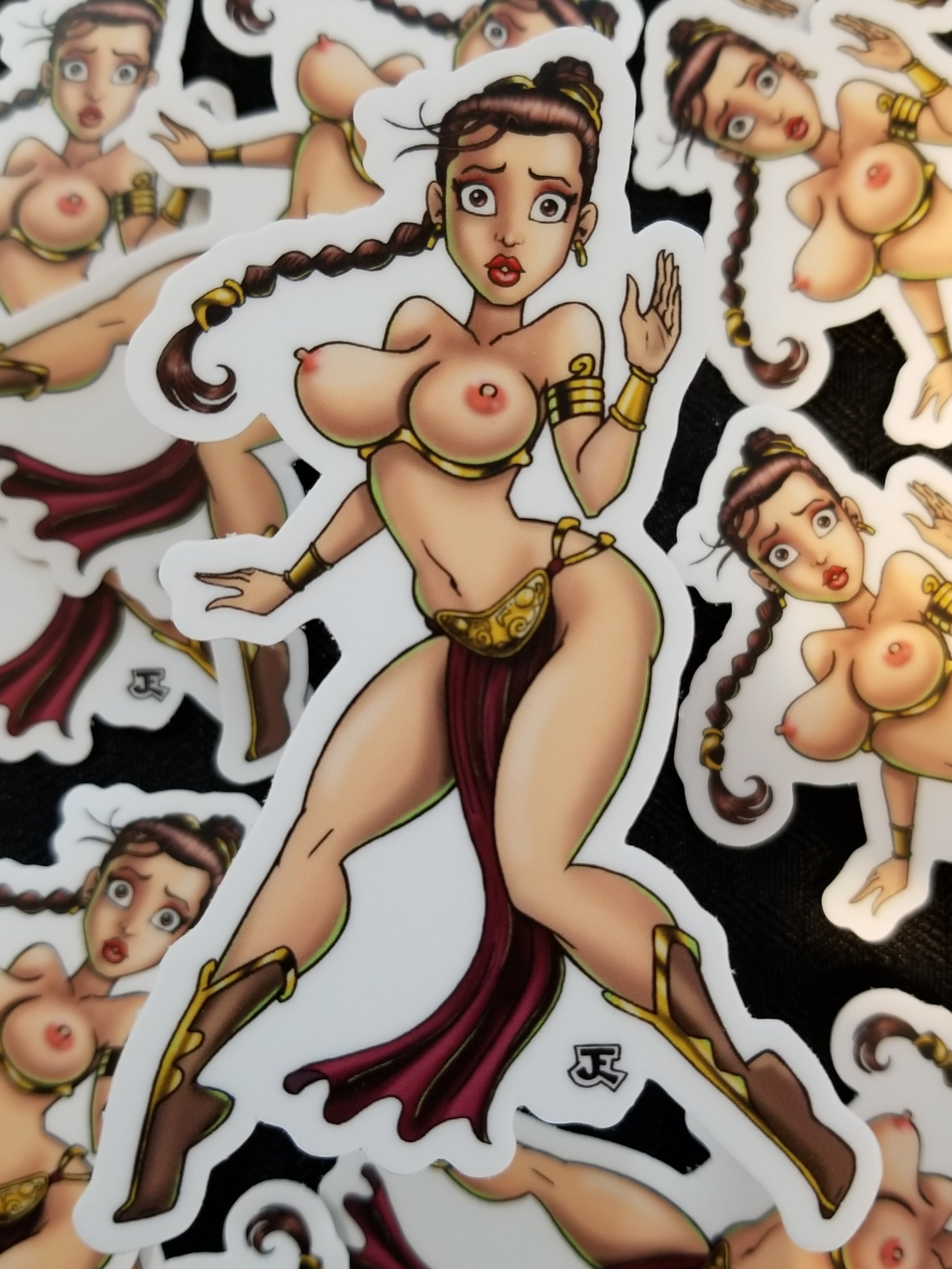 Topless Star Princess pin-up vinyl sticker
