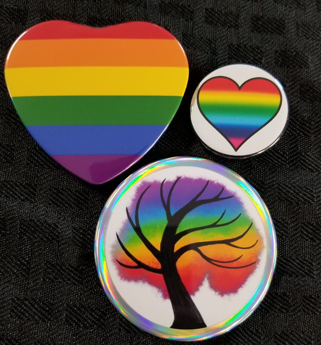 Gay pride button and magnet set