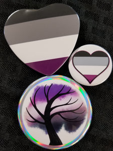 Ace, asexual pride button and magnet set
