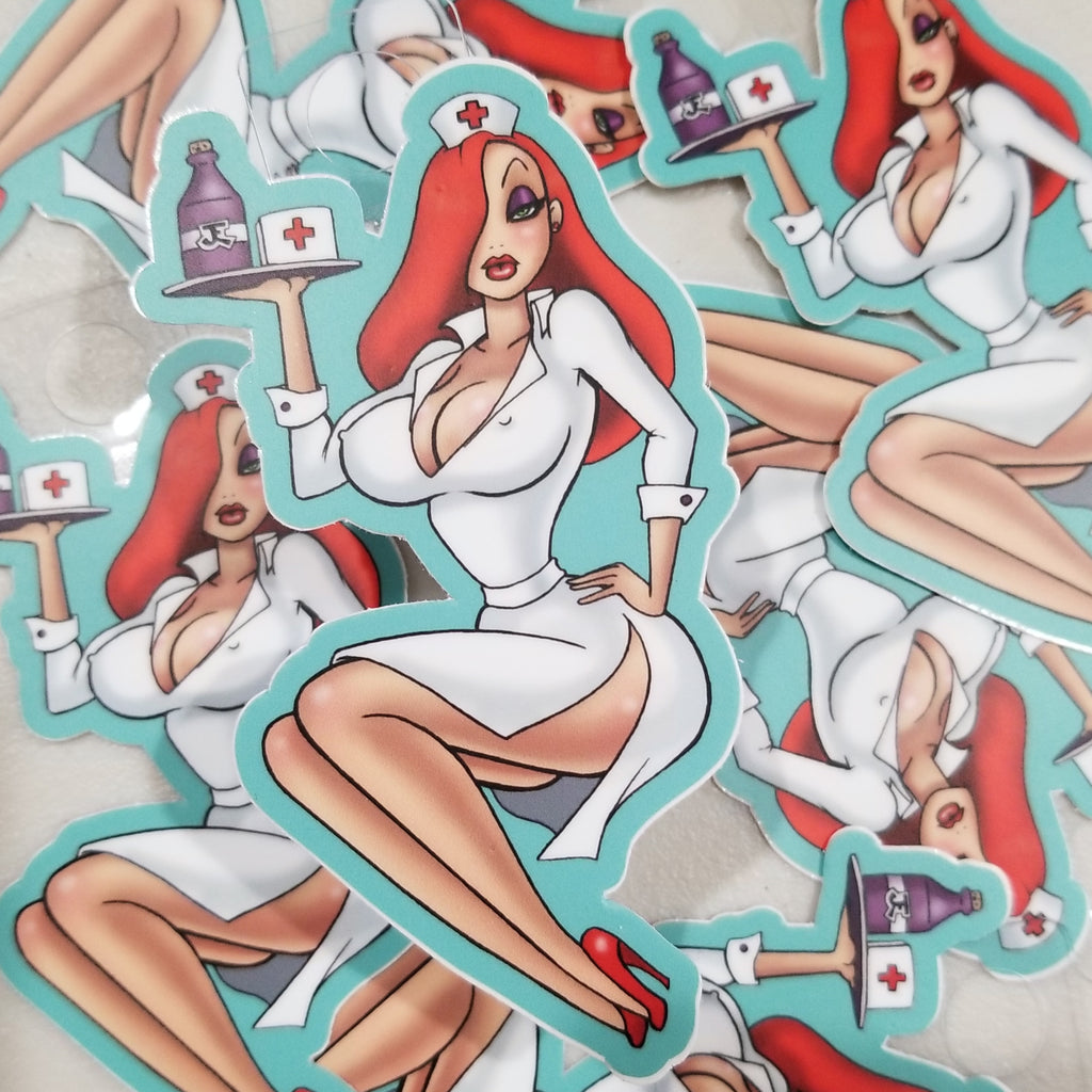 Sexy nurse Jessica pin-up vinyl sticker