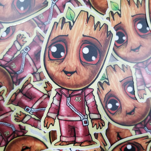 Cute space tree alien vinyl sticker