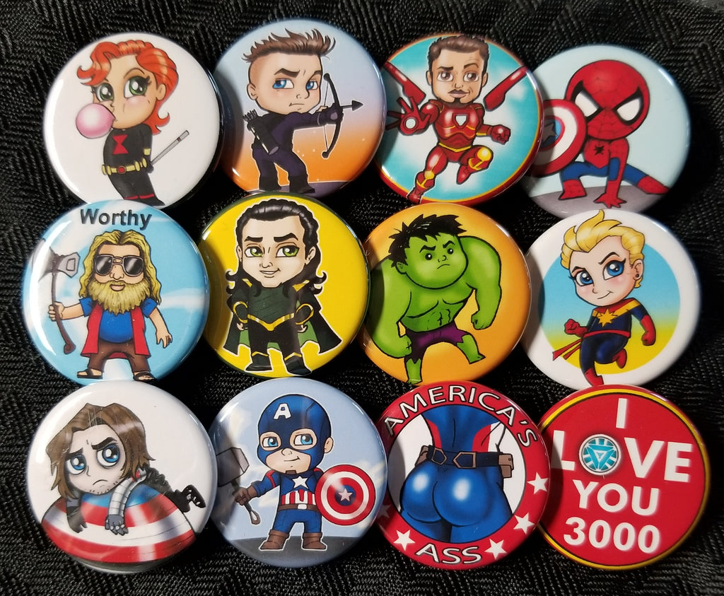 Super hero team buttons set!