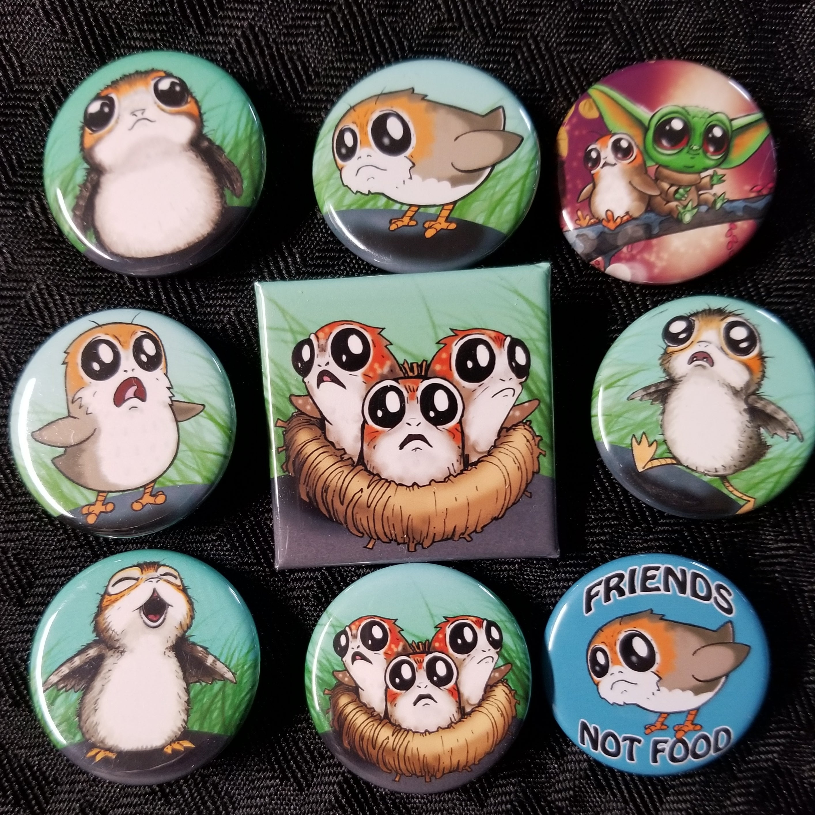 Furry space birds buttons set!