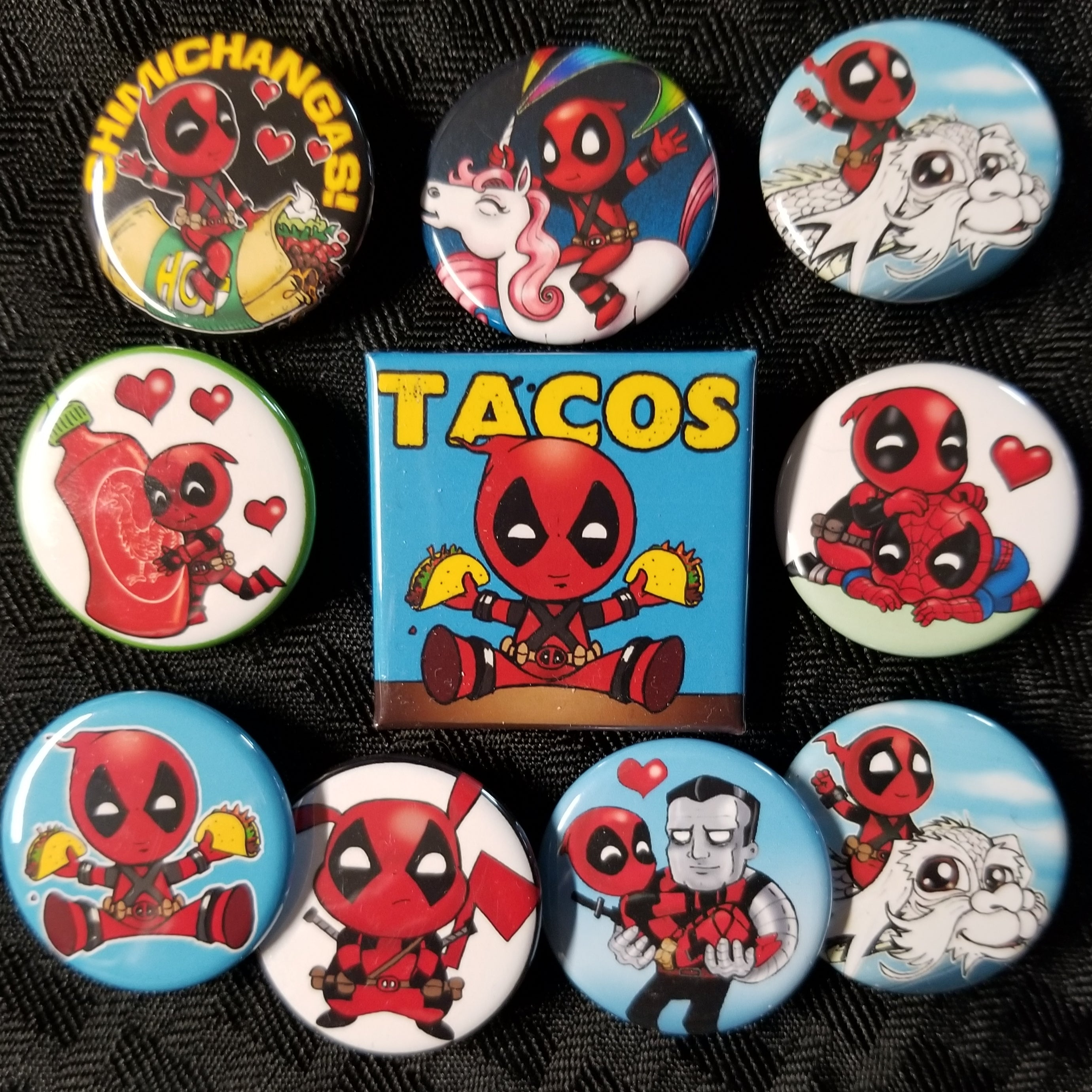 Red costumed Anti-hero buttons set!