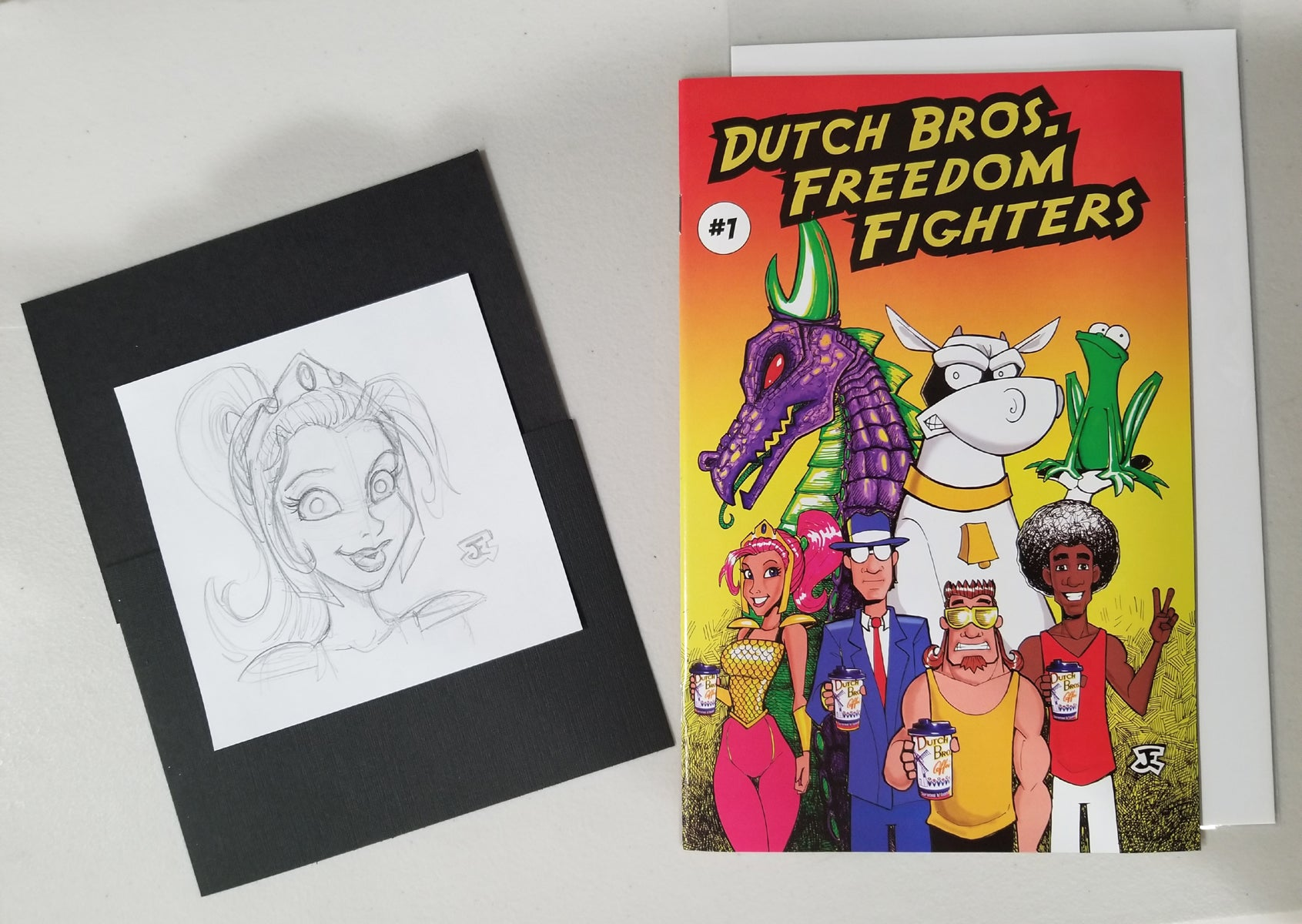 Dutch Bros Freedom Fighters Comic #1 with Artist Sketch