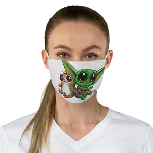 Star Child and bird alien Fabric Face Mask