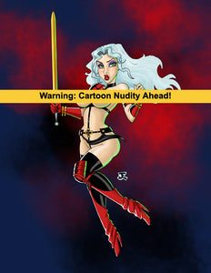 The Last Warrior Woman 80's Topless pin-up vinyl sticker