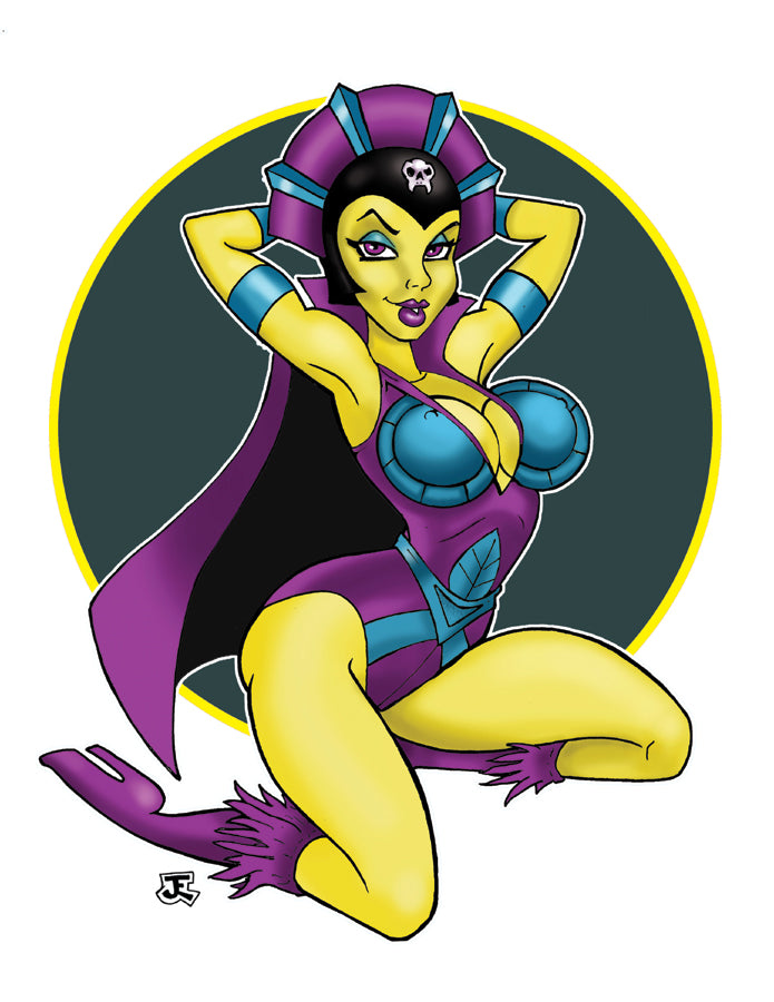 Evil Sorceress 80s  pin-up vinyl sticker