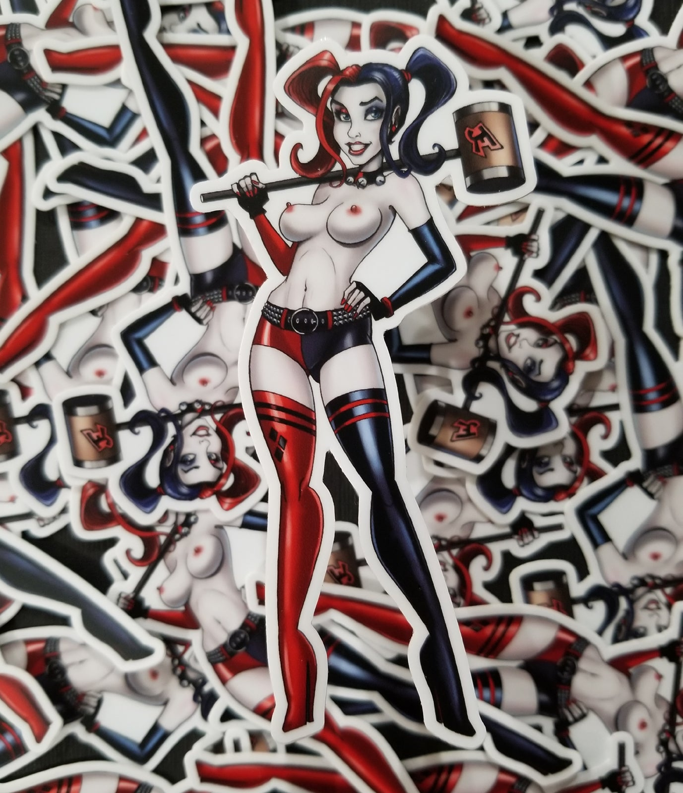 Harley Girl topless lewd pin-up vinyl sticker