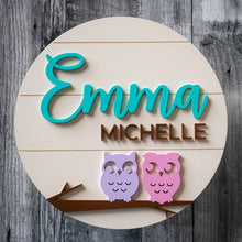 Load image into Gallery viewer, Personalized Owls Wall Sign