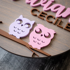 Personalized Owls Wall Sign