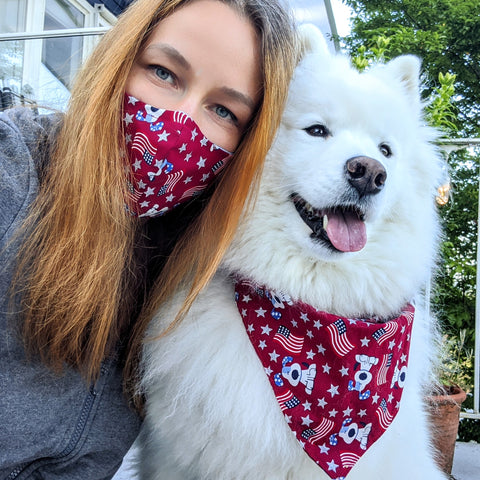 "Face Mask / matching Dog Bandana ""4th of July"""