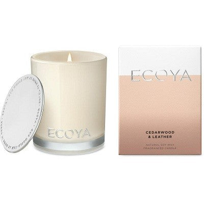 Ecoya madison cedarwood leather mini candle 80g