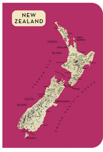 Map NZ A6 Notebook Rose