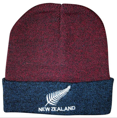 BEANIE BURGUNDY/BLUE FERN NZ