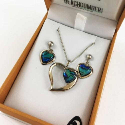 Paua Set Silver Plated  - Heart Duo