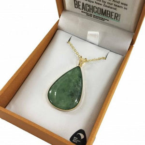 Greenstone Pendant Gold Plated  - Tear Drop Large