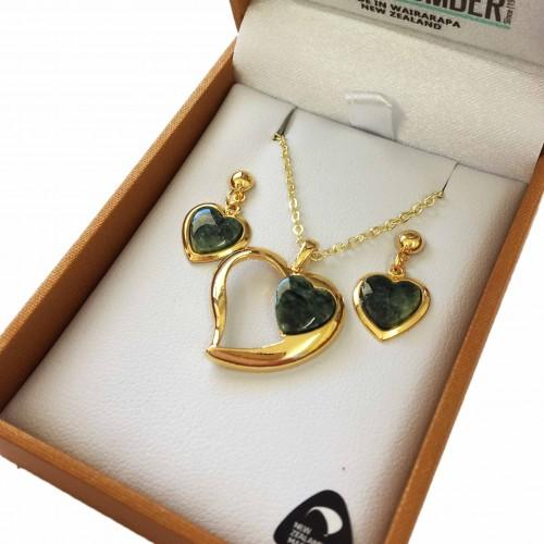 Greenstone Set Gold Plated  - Heart Duo