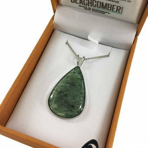 Greenstone Pendant Silver Plated  - Tear Drop Large