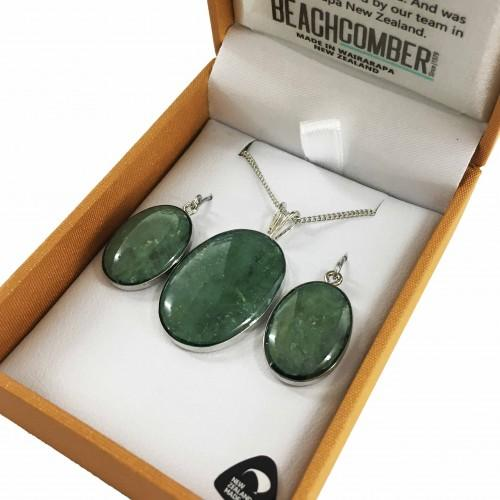 Greenstone Set Silver Plated  - Oval