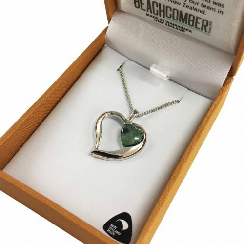 Greenstone Pendant Silver Plated  - Heart Duo