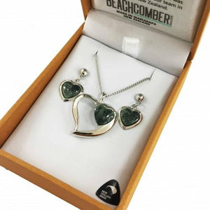 Greenstone Set Silver v - Heart Duo