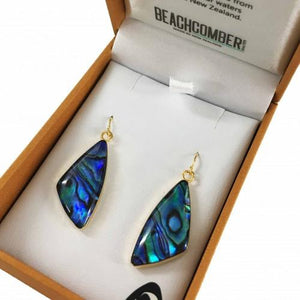 Paua Earrings Gold Plated  - Shape 1
