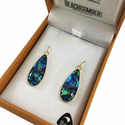 Paua Earrings Gold Plated  - Oval Drop