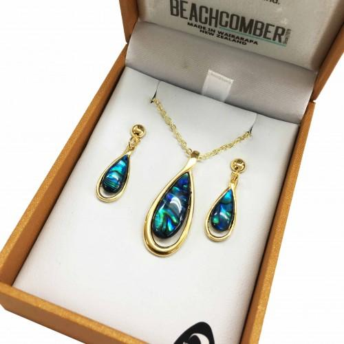 Paua Set Gold Plated  - Tear Drop Duo