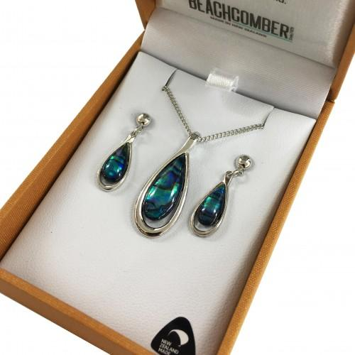 Paua Set Silver Plated  - Tear Drop Duo