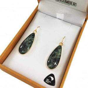 Greenstone Earrings Gold Plated  - Oval Drop