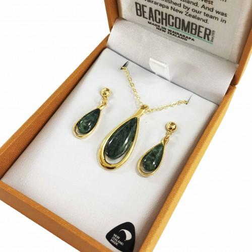 Greenstone Set Gold Plated  - Tear Drop Duo