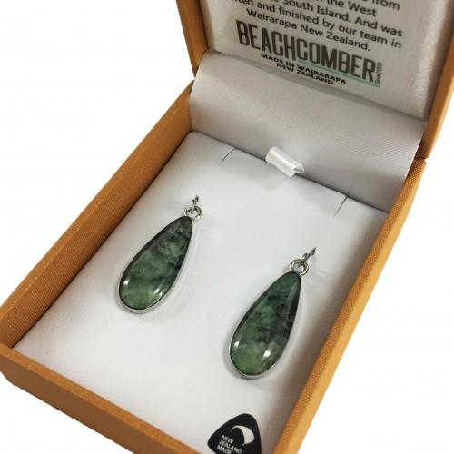 Greenstone Earrings Silver Plated  - Oval Drop