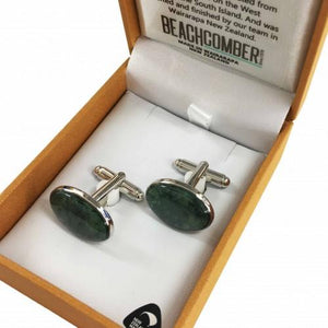 Greenstone Cflnks Oval Silver Plated