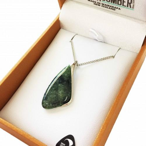 Greenstone Pendant Silver Plated  - Shape 2