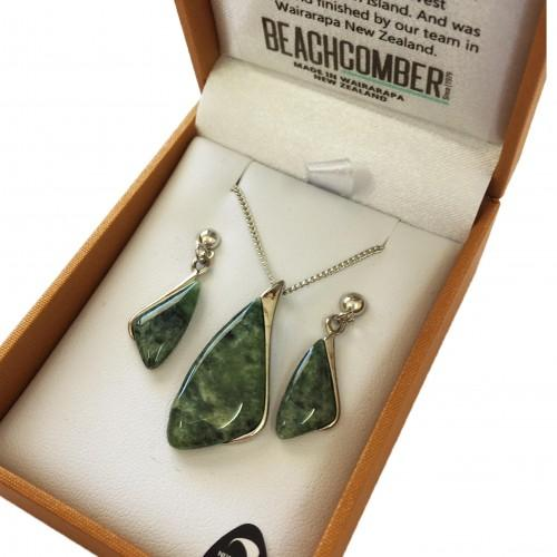 Greenstone Set Silver Plated