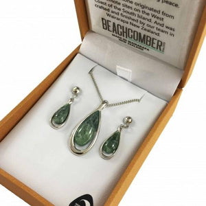 Greenstone Set Silver Plated  - Tear Drop Duo