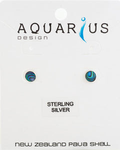 Paua sterling silver 6mm round earring