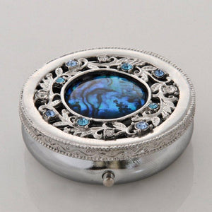 Blue paua pillbox/ crystal stones