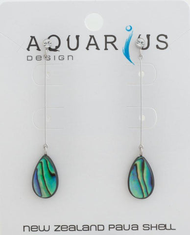 Paua dangling teardrop with crystal earring