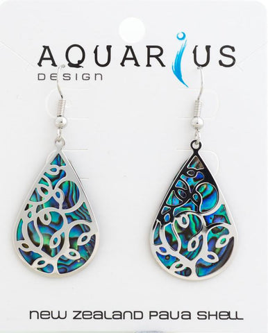 Paua teardrop with overlay earring