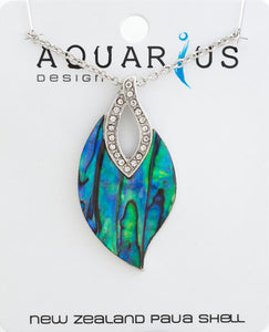 Paua leaf with crystal pendant