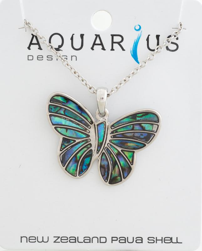 Natural paua butterfly pendant