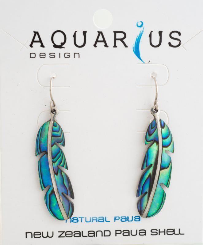 Paua feather earring