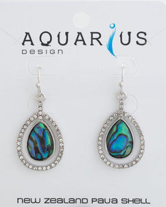 Paua rhodium crystal teardrop earring