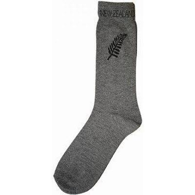 NEW ZEALAND SOUVENIR SOCKS GREY WITH FERN SOCKS