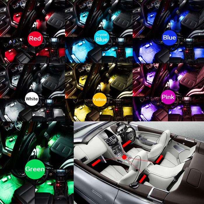 Car Interior Ambient Lights(Contains four light bars)