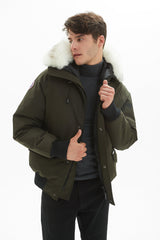 Mens Bomber Jacket, Winter Fashion Hooded Classic Down Alternative Flight Windbreaker Jacket