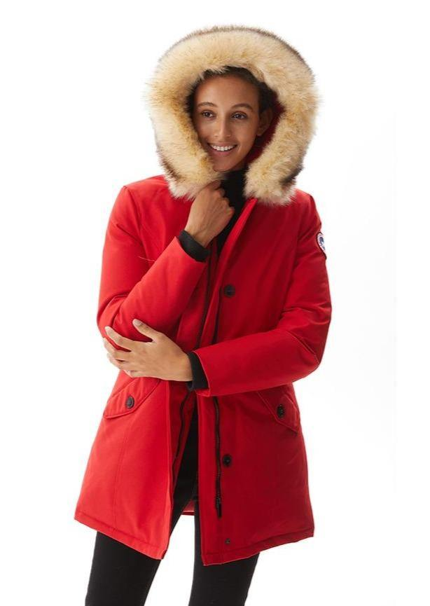 Women`s Down Puffa Parka PX03 red
