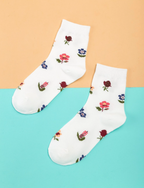Socks Flower Print